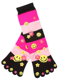 Striped Smiley And Flowers Long Toe Sock, Fuchsia