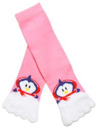 Happy Penguin Long Soft Toe Sock, Pink