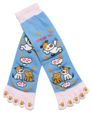 Friendly Dog Long Toe Sock, Blue