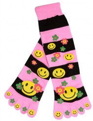 Smiley Floral Striped Long Toe Sock,  Pink Black
