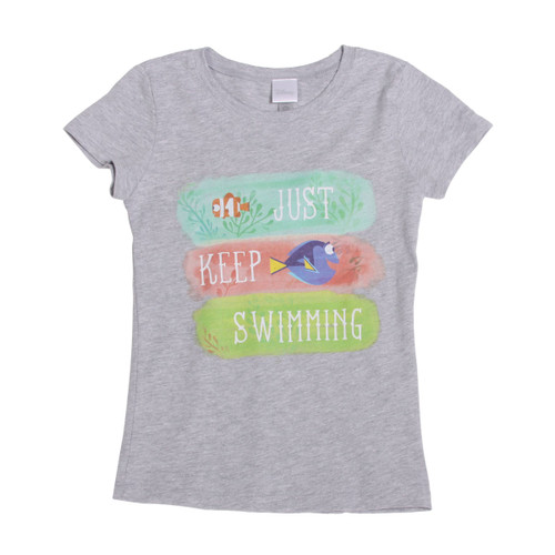 Finding Dory Just Keep Swimming Girls The Princess T-Shirt, Heather Grey