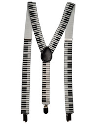 Piano Keys Funky Elastic Braces Clip On Suspenders