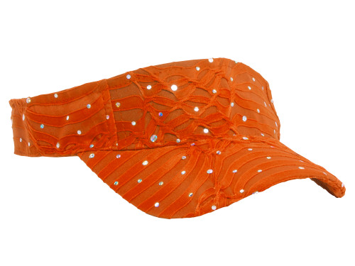 Glitter Sequin Visor in 19 Assorted Colors - Orange