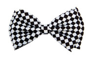 Pre-tied Bowtie - White and Black Checkered Print