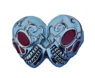 Double Red Eye Skull Belt Buckle