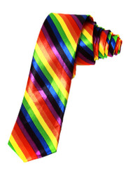 2 Inch Trendy Skinny Tie  - Rainbow Striped Diagnal