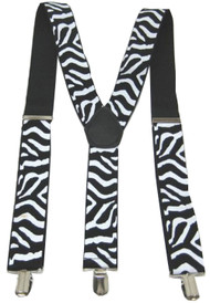 Zebra Striped Clip-On Suspenders