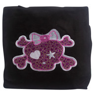 Clover Cartoon Pink Skull Tote Bag, Black