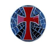 Gothic Cross Spider Web Embedded Belt Buckle