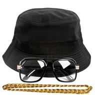 90s Hip-Hop Gold Chain Kit (Bucket Hat + Sunglass + Gold Chain)