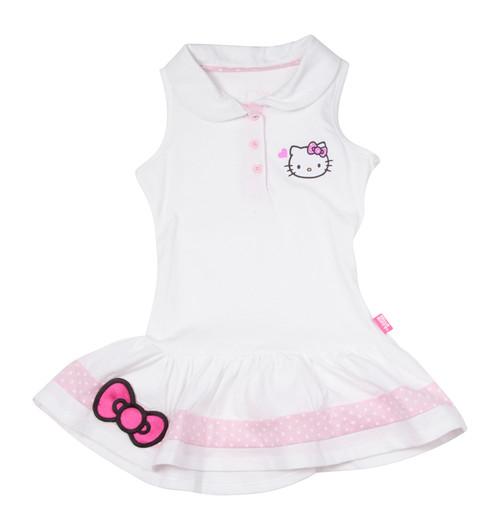Hello Kitty Girls` Sleeveless Polo Tennis Dress White