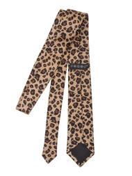 Leopard Spotted Men's Slim Tan & Black Necktie