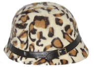 Ladies Angora Animal Print Cloche Hat