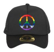 Rainbow Peace Sign Black Adjustable Trucker Hat