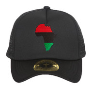 Pan Africa Continent Patch Black Adjustable Trucker Hat
