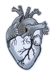 Grey Heart Embroidery Patch