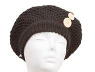 Weave Knit Buttoned Beret - Black