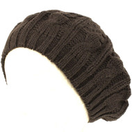 Cable Knit Winter Ski Beret Knit Tam Skull Hat Charcoal Grey