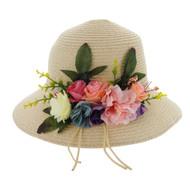 Chic Headwear Braided Straw Hat w/ Floral Garden