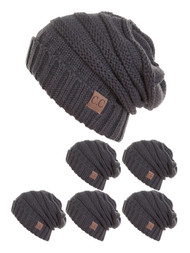 CC Slouch Thick Knit Beanie ( 6 pack )