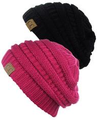 C.C Women's Knit Beanie Cap Hat (2 PACK)