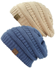 Women's Knit Beanie Cap Hat (2 PACK)