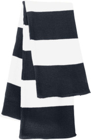 Sportsman - Rugby Striped Knit Scarf, Navy White