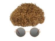 Mens Dynomite Costume Kit, Circular Gold Frame Sunglasses
