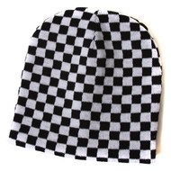 Cuffless Checkered Beanie - Black and White