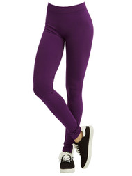 Polyester Spandex Seamless Womens Full Length Leggings, Purple