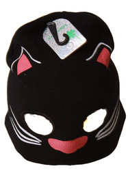 Cute Youth Size Cuffless Cat Mask Beanie with Eye Holes