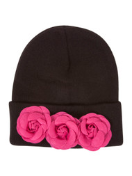 Black Cuffed Beanie w/ Floral Rose