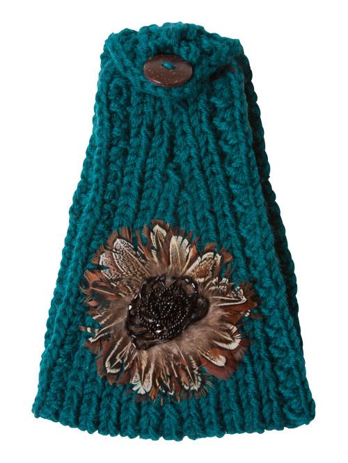 Crochet Knit Faux Feather Head Wrap