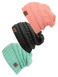 Women's 3-Pack Knit Beanie Cap Hat