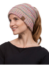 Gravity Threads Soft Cable Knit High Ponytail Winter Beanie