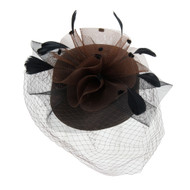 Chic Headwear Braid Pill Hat w/ Mesh Veil and Feathers