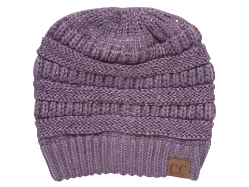 CC Ponytail Knitted Beanie w/ Sequins
