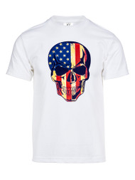 Mens US Flag Skull Short-Sleeve T-Shirt