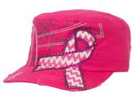 Top Headwear Pink Chevron Ribbon Distressed Cadet Cap