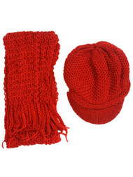 Crochet Beanie Visor with Scarf