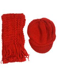 Crochet Beanie Visor with Scarf
