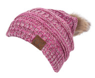 Gravity Threads Pom Cable Knit Slouchy Winter Beanie