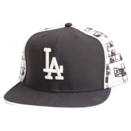 Los Angeles Dodgers Custom New Era Official Fitted Hat - White Black (7 5/8)