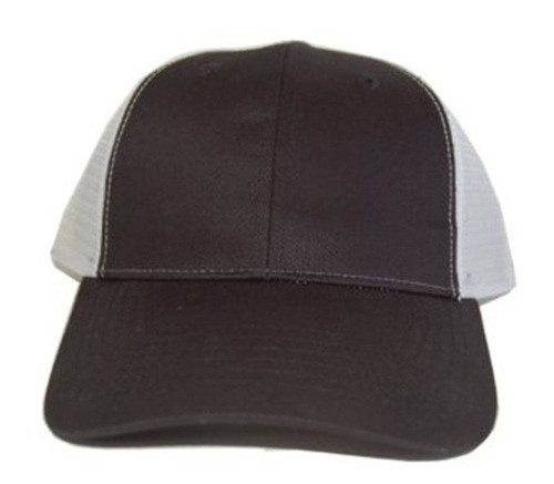 New Style Cotton Style Flat Bill Trucker Mesh Hat Cap - Black / White Mesh