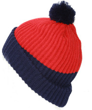 New York Rangers NHL Thick Pom Ribbed Beanie, Red Blue
