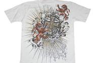 New Tattoo Cross Crown Graphics Print T Shirt - White Gold Silver Cross, XXL