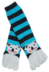 Happy Koala Striped Long Soft Toe Sock, Blue