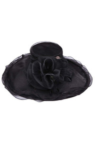 Womens Wide Brim Sun Hat w/ Giant Sheer Bow
