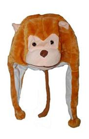 Monkey Faux Fur Animal Head Knit Beanie Hat