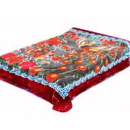Solaron King Peacock Korean Mink Blanket - Red Border